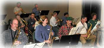 Community musicians join the Roseville Big Band for a sit-in night. Bigger picture is 53K.